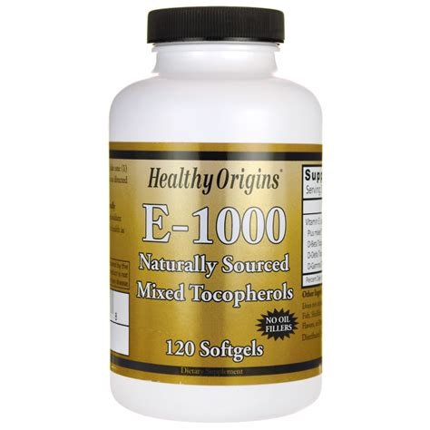 healthy origins 100 natural vitamin e 1000 mixed