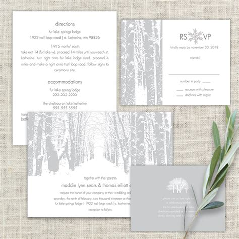 Tree Themed Wedding Invitations by Winter Themed Tree Wedding Invitations