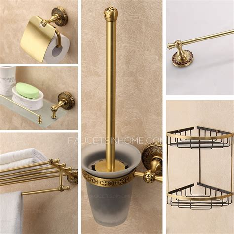 Antique Bathroom Accessories Expensive Brass Antique 6 Sets Bathroom Accessory Set