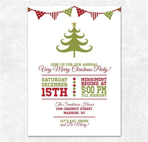 free printable christmas invitations template items similar to printable invitation bunting and tree on etsy