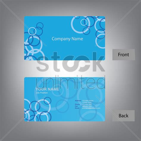 Business Card Front And Back Template Illustrator by Front And Back Business Card Template Vector Image