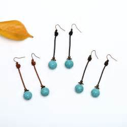 Handmade Earring Design Ideas - ets e197 turquoise drop earring simple design leather