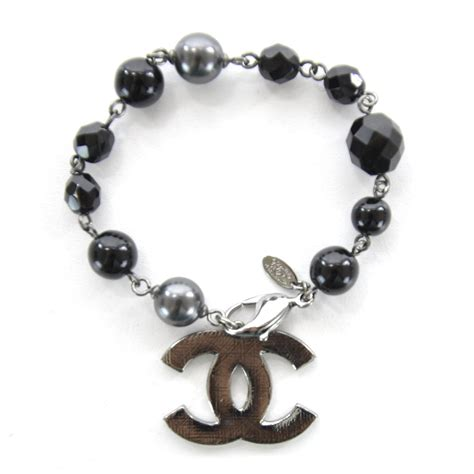 Gelang Chnl Bangles Chnel Bracelets chanel beaded cc bracelet black 31443