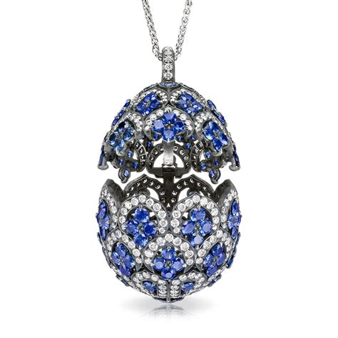 faberge egg pendant z 233 naide sapphire egg pendant imperial collection