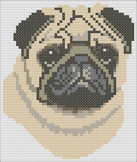 pug cross stitch pug cross stitch knitting chart easy 1
