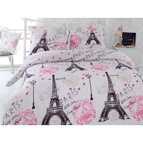 paris eiffel tower pink twin queen bedding duvet cover