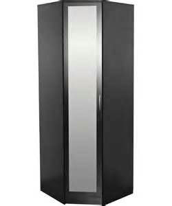 buy cheval 1 door mirrored corner wardrobe black at