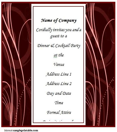 dinner invitation templates free business dinner invitation template sanjonmotel