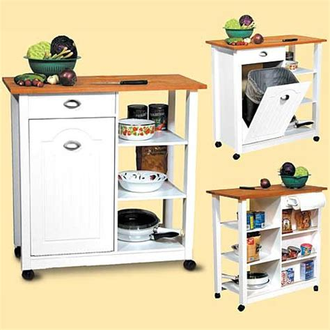 Kitchen Cart With Trash Bin by Waste Basket Butcher Cart A Kitchen Island On Wheels For