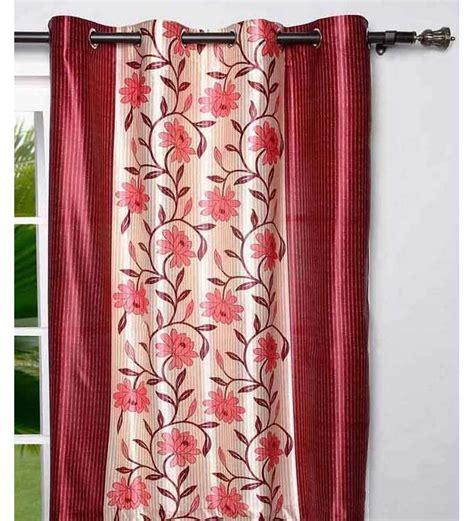 deep pink curtains sai arpan flower print door curtain deep pink cream 7 ft