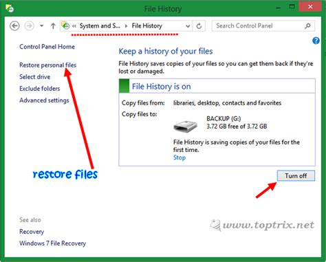 backup files and folders with file history in windows 10 windows