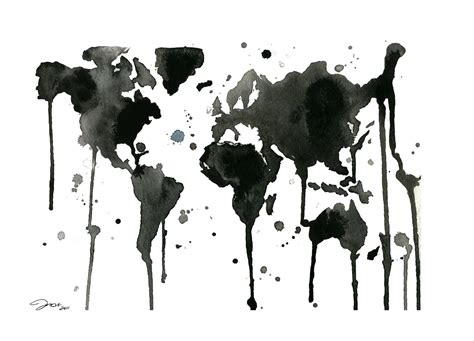 map world black and white it s a black and white world watercolor map by