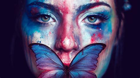 beautiful woman butterfly portrait wallpapers hd