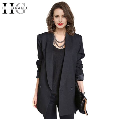 Blazer Style Black 59 aliexpress buy hee grand 2017 fashion black blue casual blazer mid length single