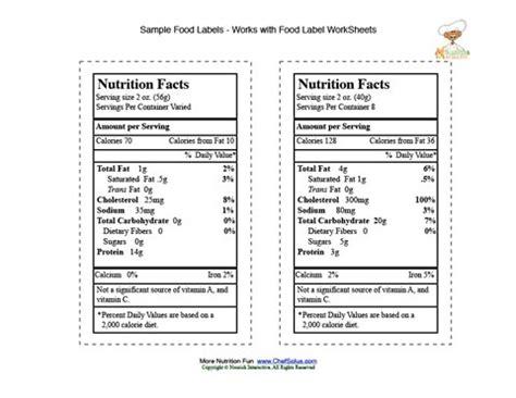 printable nutrition label food label sle sheets 5
