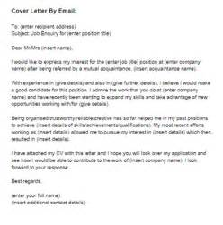 cover letter for a by email sle just letter templates