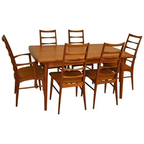 Teak Dining Room Table And Chairs Modern Teak Refractory Dining Table And Six Quot Liz Quot Hornslet Kofoed Chairs For Sale At 1stdibs