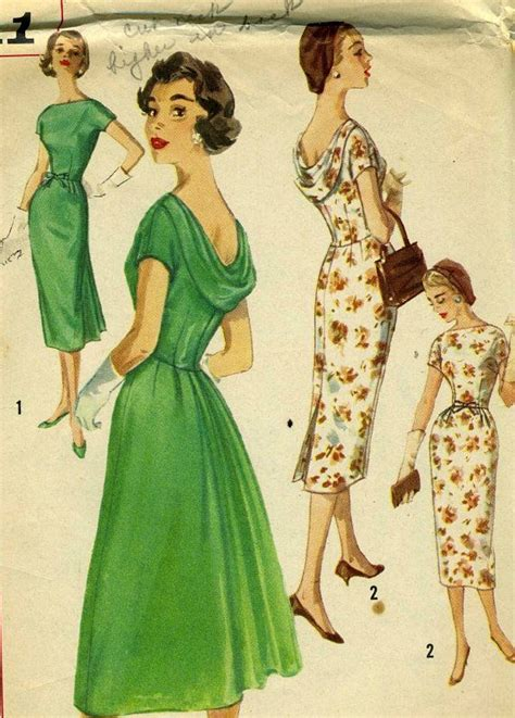 drape back dress pattern vintage simplicity 2411 misses one piece afternoon or