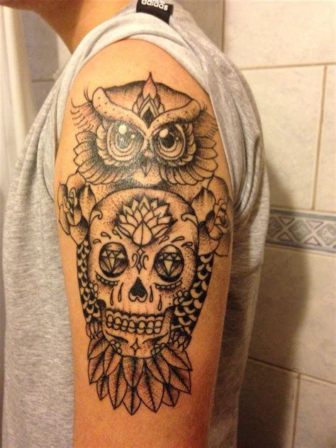 owl sugar skull tattoo 25 beste idee 235 n uil schedeltatoeages op