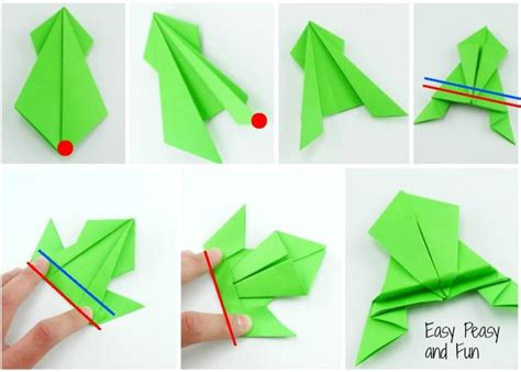 How To Make A Paper Jumping Frog - origami frogs tutorial origami for easy peasy and