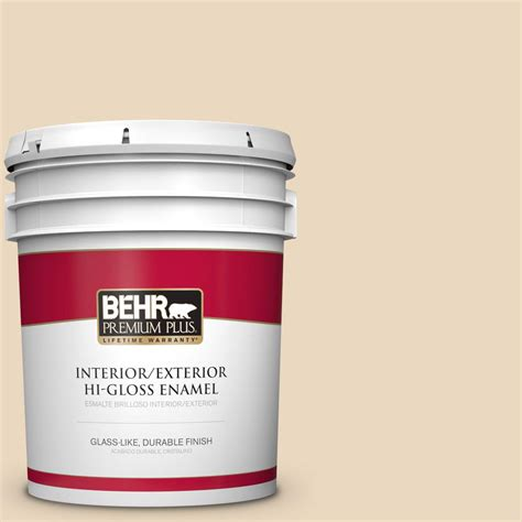 behr premium plus 5 gal hdc wr15 8 steamed milk hi gloss enamel interior exterior paint 805005