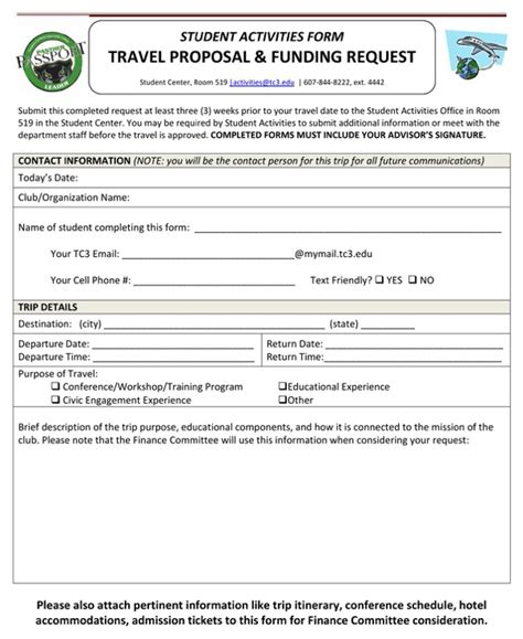 proposal template for funding request travel funding request for free