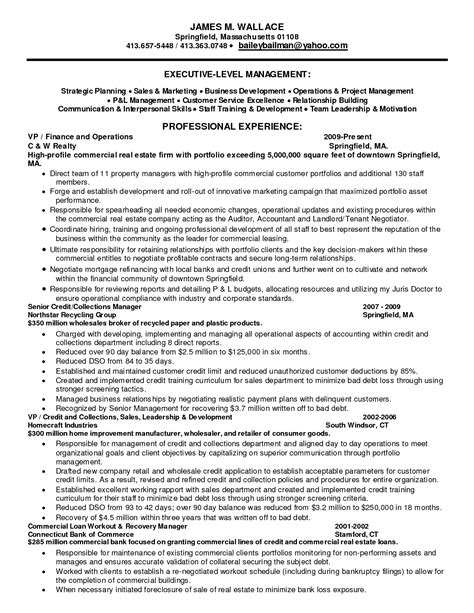 resume for credit manager winning resume sle for collections manager position