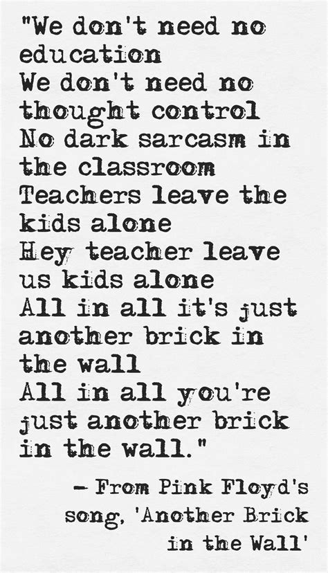 another brick in the wall testo lyrics from pink floyd s song another brick in the wall