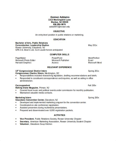 Resume Format For Internship Engineering Internship Engineering Resume Sle
