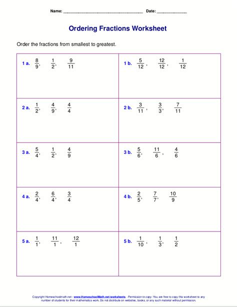 compare fractions worksheet equivalent fractions