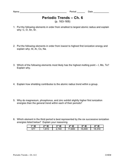 Periodicity Worksheet Answers by Worksheets Periodic Trends Worksheet Answer Key