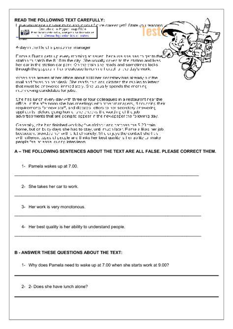 Middle School Reading Comprehension Worksheets by Daily Routines Reading Comprehension Worksheet