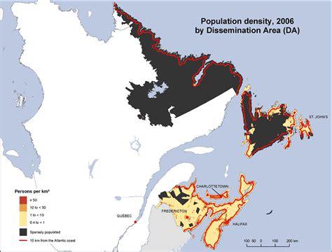 canadian map population density population density atlantic provinces 2006