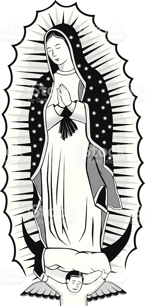 imagenes religiosas vectores blanco y negro virgen de guadalupe arte vectorial de
