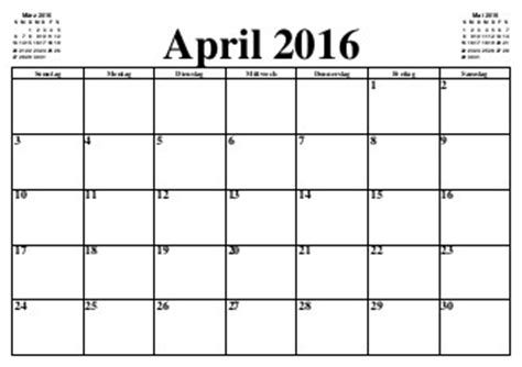 Kalender 2016 Monatsweise Design