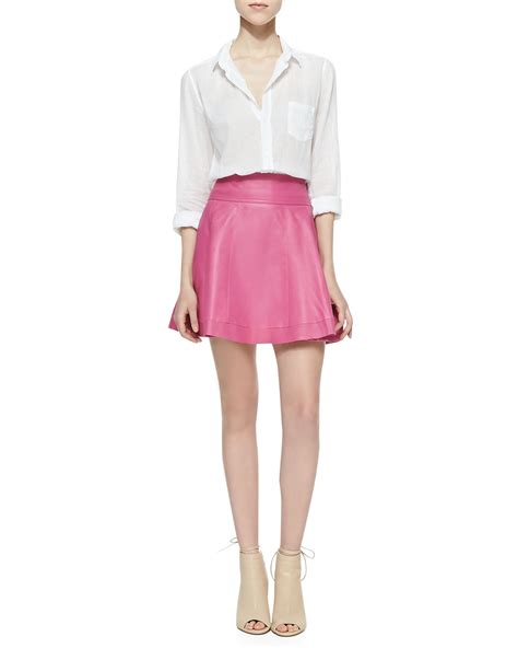 cusp leather skater skirt bright pink in pink lyst