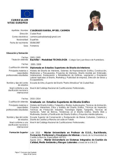 Modelo Curriculum Vitae Europeo Español Curriculum Vitae Europeo De Mari Cuadrado Barba