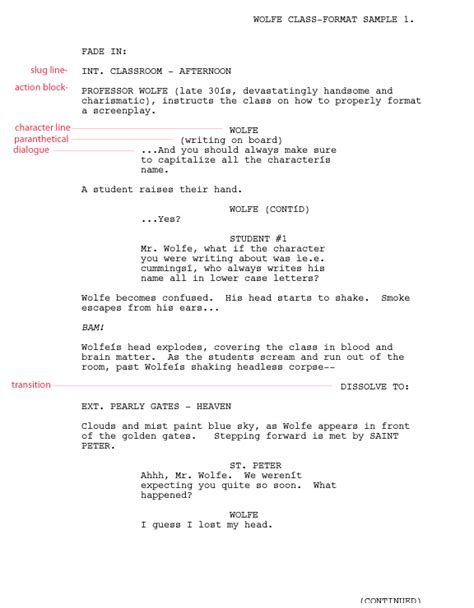 writing for film tv script format templates