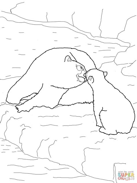 polar bear baby and mother coloring page free printable