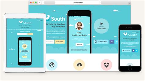 South Html5 App Landing Page Html5 Website Templates Pixeden Mobile App Html Template Free