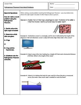 Pythagorean Theorem Word Problems Worksheet by Pythagorean Theorem Word Problems Word Problems Cornell