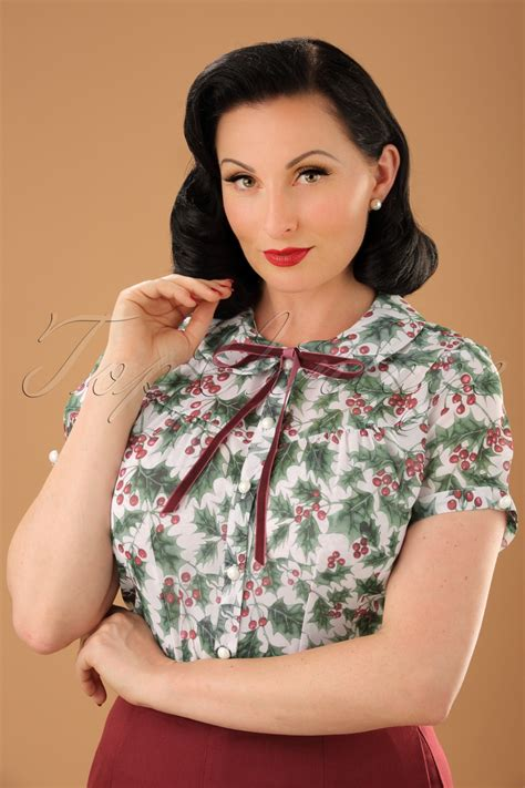 Baju Dress To Rabbit Bery Blouse 50s berry blouse in ivory