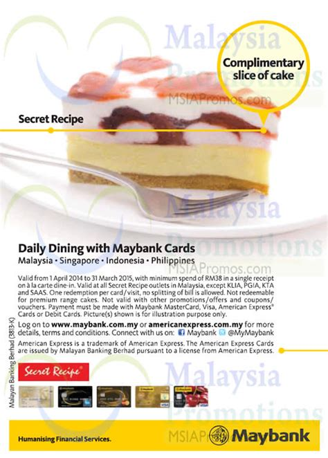 secret recipe promotion 2015 secret recipe free slice of cake for maybank cardmembers 1