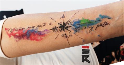 watercolor compass tattoo water color compass by enhancertattoo on deviantart