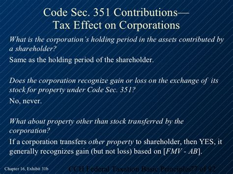 tax code section 351 2013 cch basic principles ch16 piii