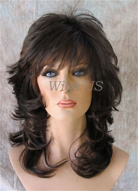 shoulderlength volume haircut brown with auburn medium wavy choppy multi layers bangs