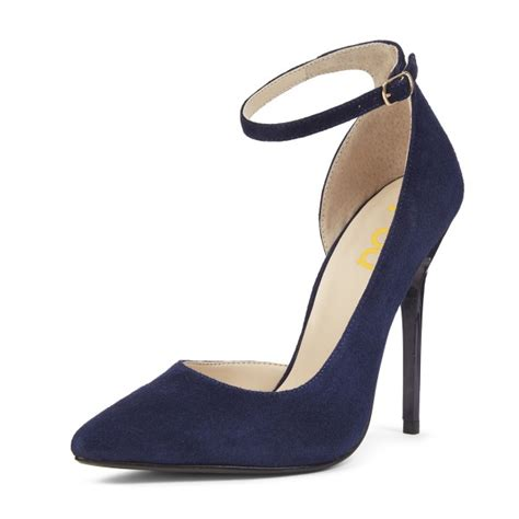 Pointy Pumps With Ankle navy ankle heels pointy toe suede stiletto heels