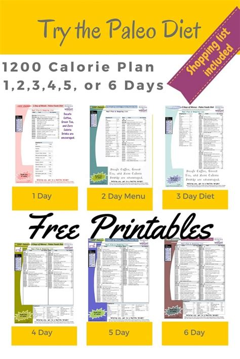 free printable diet plan to lose weight printable 1200 calorie paleo diet for 6 days or less