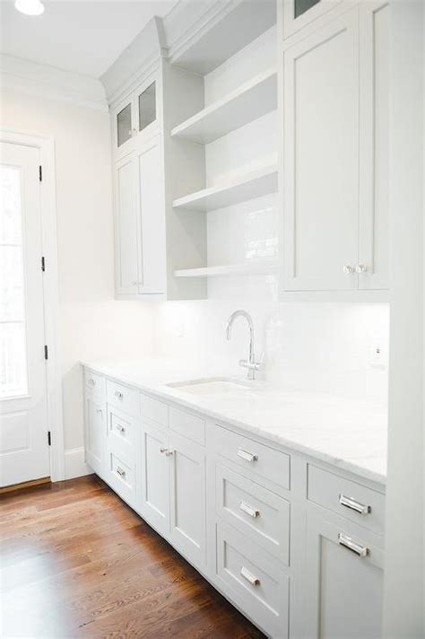 gray kitchen cabinets benjamin moore grey butler pantry cabinets with white marble countertops