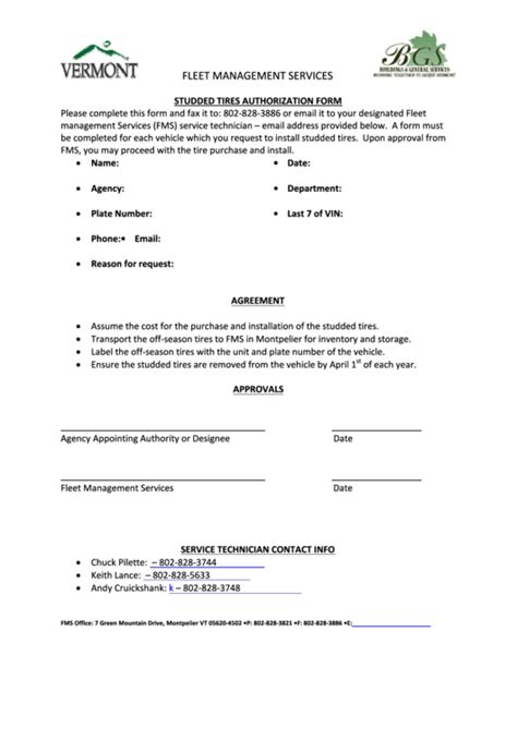 Fillable Studded Tires Authorization Form Fleet Management Services Printable Pdf Download Fleet Management Contract Template
